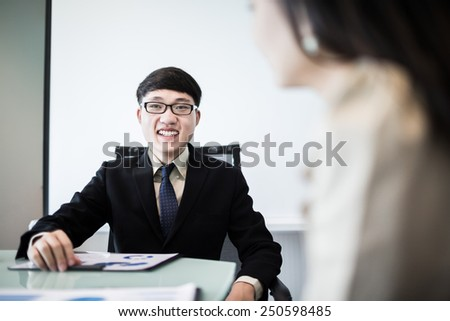 Successful young business executives meeting at the office.Asian - stock photo