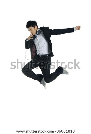 successful young business man jump - stock photo
