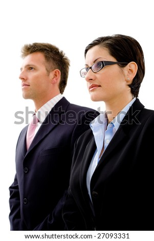 Successful young business people looking away, isolated on white background. - stock photo