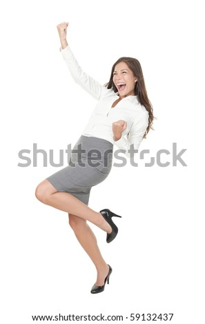 Successful young business woman happy for her success. Isolated full body image on white background. Mixed Asian / Caucasian businesswoman. - stock photo