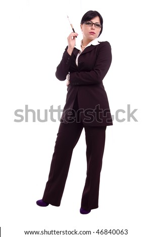 Successful young business woman holding a cigarette isolated over white background