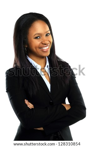 Successful young business woman with hands folded smiling over white background