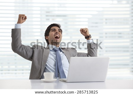 Successful young businessman enjoying success at his desk - stock photo