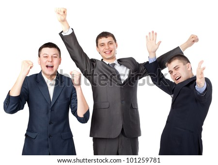 Successful young businesspeople raising hands isolated on white background
