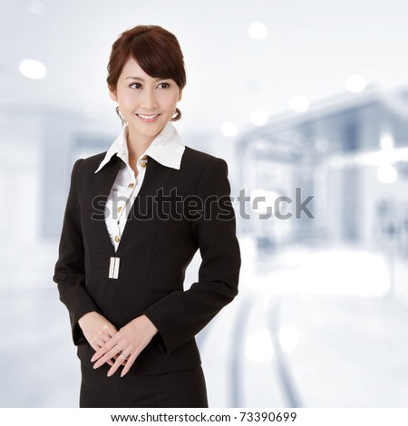 Successful young executive woman smiling, closeup portrait in office. - stock photo