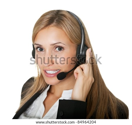 Successful young female call center executive - stock photo