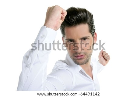 Successful young man gesture expression white background - stock photo