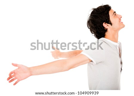 Successful young man with arms open - isolated over a white background - stock photo