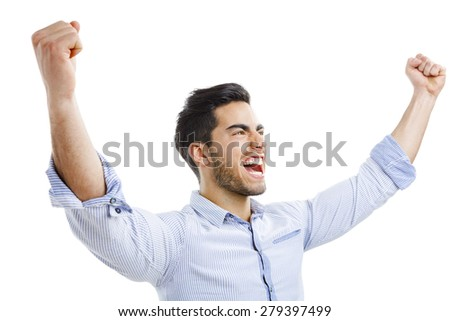 Successful young man with arms open, isolated over white background