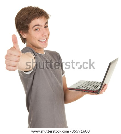 successful young man working on laptop, white background, series