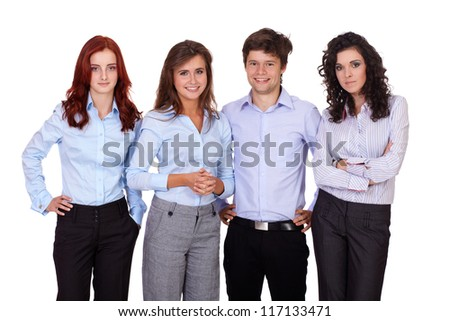 Successful young smiling group of businesspeople, isolated on white