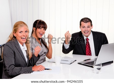 successful young team at a meeting in office - stock photo