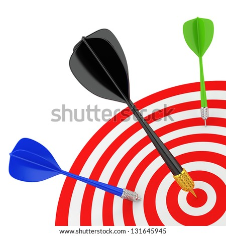 Successfully hit the target. 3D image. On a white background.
