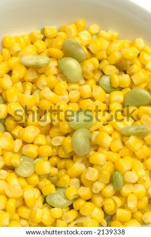succotash mixture corn niblets and lima beans green vegetables in a bowl