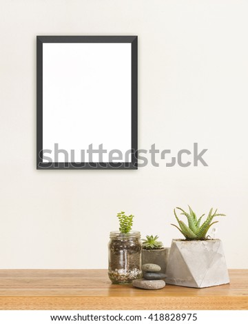 Succulent green plants stones and frame mockup - stock photo
