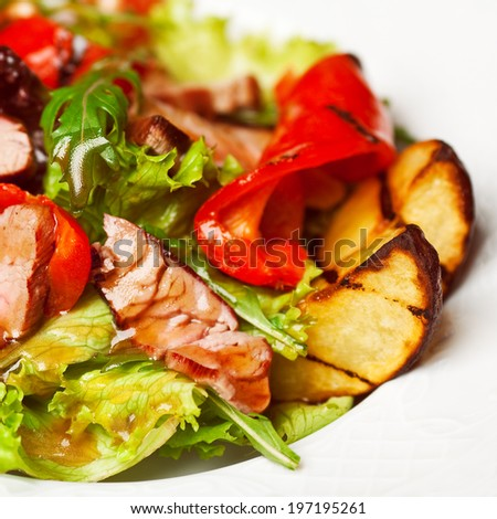 Succulent juicy portion of hot salad with grilled fillet steaks served with sweet pepper, ruccola and roast vegetables (potato) on white plate. Copy-space. Close up. Indoor shot  - stock photo