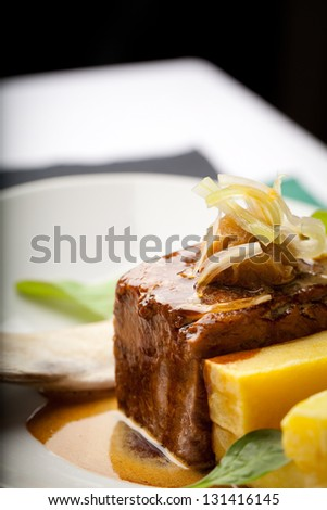 Succulent piece of beef with potatoes and sauce - stock photo