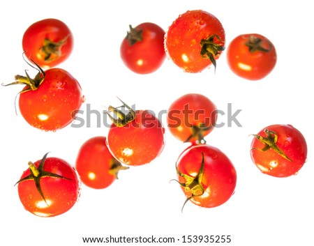 succulent ripe red cherry tomatoes suspended in front of a white background. Selective focus with focus on tomatoes in foreground - stock photo