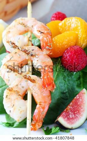 succulent shrimp shish kebab - stock photo