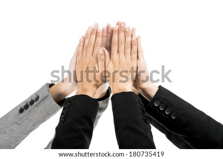 Sucess concept with hands on air isolated over a white background  - stock photo