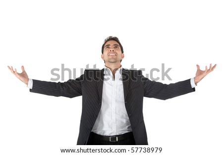 Sucessful business man with arms opened - isolated over a white background - stock photo
