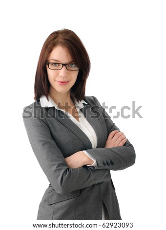 Sucessful business woman with glasses - stock photo