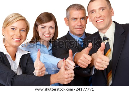 Sucessfull business group with thumbs up