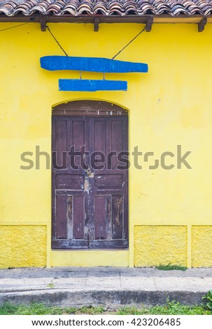 SUCHITOTO , EL SALVADOR - MAY 07 : Architectural details in Suchitoto El Salvador on May 07 2016. the colonial town of Suchitoto built by the Spaniards in the 18th century - stock photo