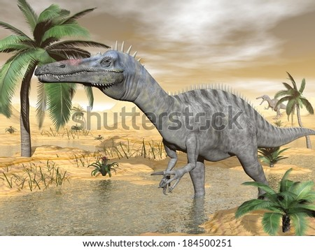 Suchomimus dinosaur walking to the water in desert landscape by brown day - stock photo