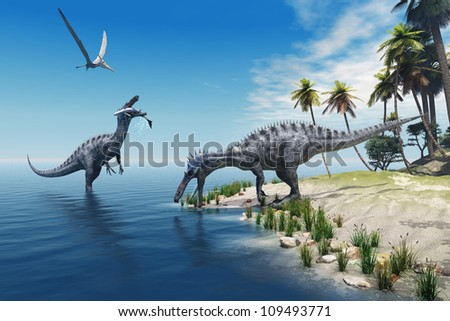 Suchomimus Dinosaurs - A large fish is caught by a Suchomimus dinosaur while a flying Pterosaur dinosaur watches for scraps to eat. - stock photo