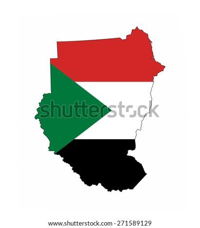 sudan country flag map shape national symbol - stock photo