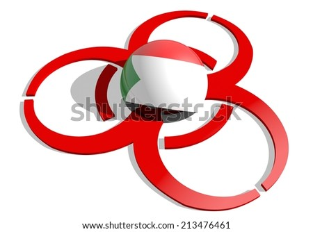 sudan flag textured sphere in the center of biohazard alert 3d red sign. suitable for ebola and others pandemic cases - stock photo