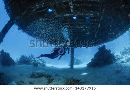 SUDAN, Red Sea, Sha'ab Rumi,U.W. photo, Cousteau Precontinent 2 structure, used in 1960 to study sharks behavior - FILM SCAN - stock photo