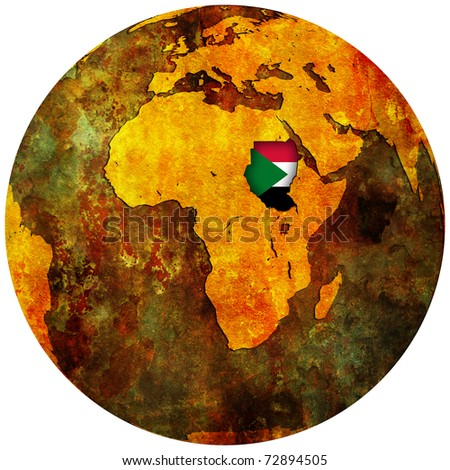 sudan territory with flag on map of globe