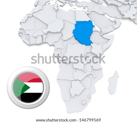 Sudan with national flag - stock photo