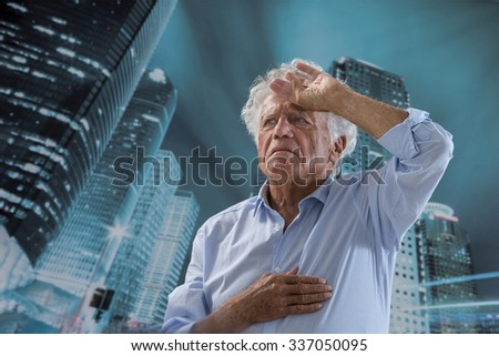 Sudden chest pain:  - stock photo