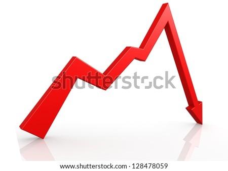 Sudden down arrow - stock photo