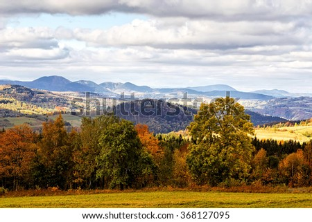 Sudety Range in Southern Poland - stock photo