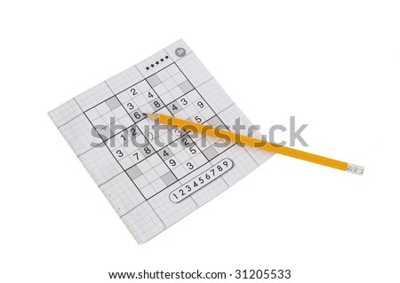 sudoku game and yellow pencil isolated on white - stock photo