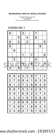 Sudoku with solution. Free to use on your website or in print. - stock photo
