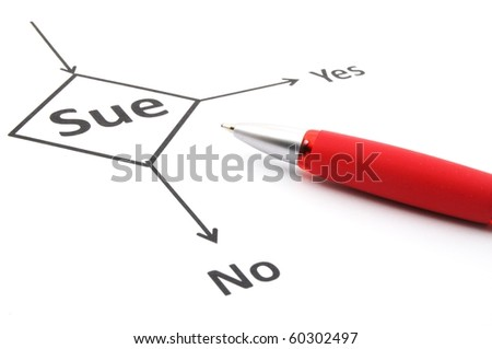 sue lawsuit or law concept with flowchart and pen