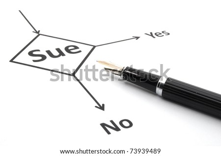 sue lawsuit or law concept with flowchart and pen - stock photo