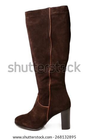 Suede boot on white background - stock photo