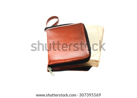 Suede Case for book isolated on white background. - stock photo