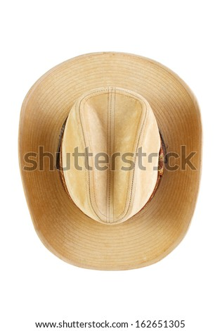 Suede cowboy hat, top view ,  isolated on white  - stock photo