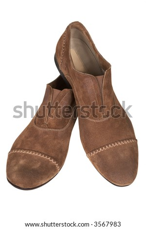 Suede man's low shoes on a white background - stock photo
