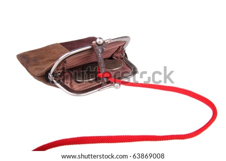 Suede purse hook. Isolated on a white background - stock photo