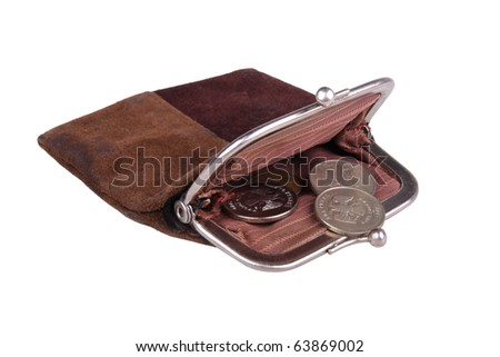 Suede purse. Isolated on a white background - stock photo