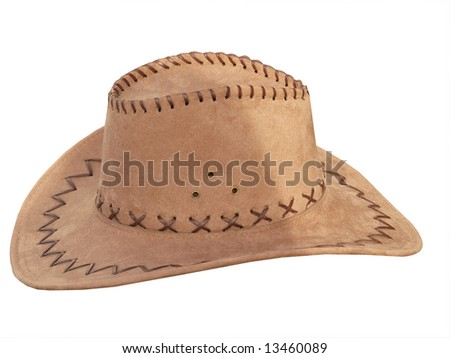 Suede Stetson isolated with clipping path - stock photo