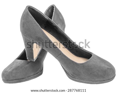 Suede stiletto high heel classic isolated white background - stock photo